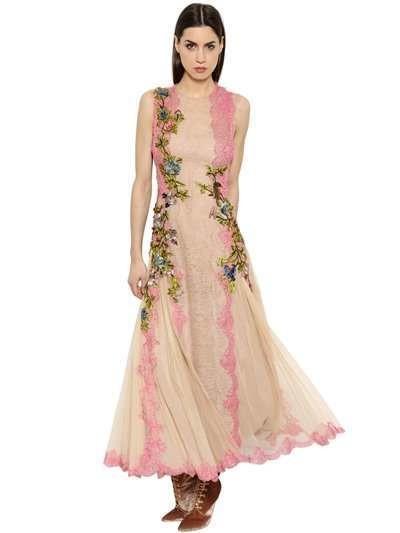 Abito da cerimonia rosa chiaro con fiori delicati ricamati - Alberta Ferretti