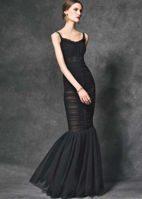 Abito da sera nero a sirena drappeggiato Dolce & Gabbana