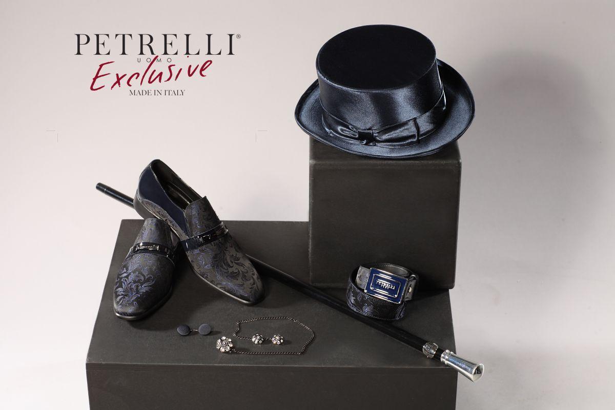Gemelli, cintura, mezzo cilindro, scarpe. Tutti gli accessori Petrelli disegnati in esclusiva per Gabriella Sposa della collezione abiti da sposo 2018.