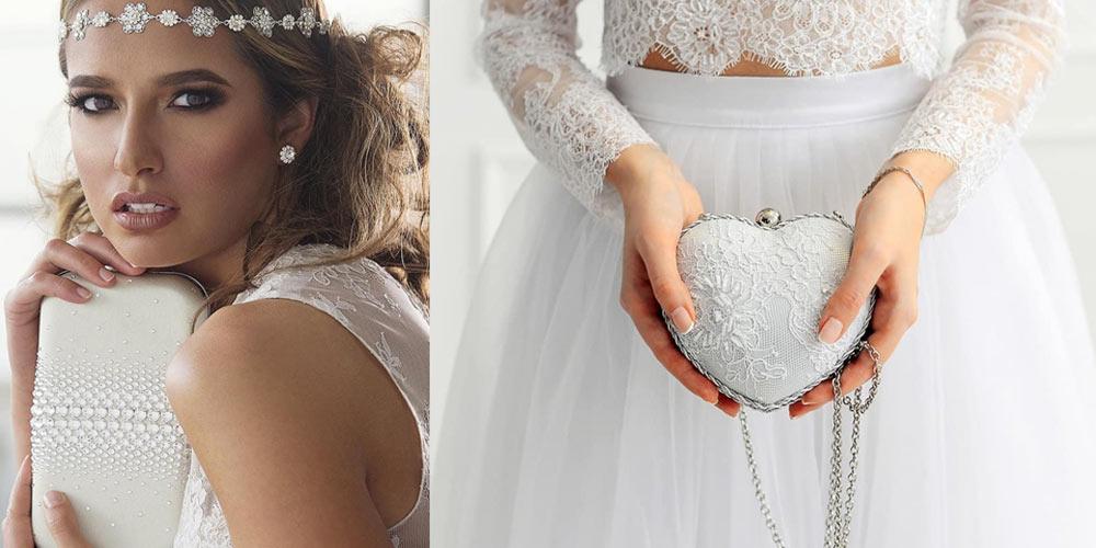 Borse da spose 2019, due esempi di pochette tra cui una a forma di cuore