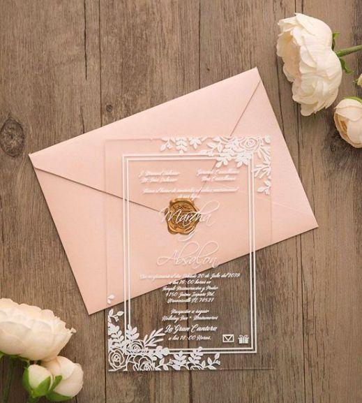 Partecipazioni di nozze in acrilico