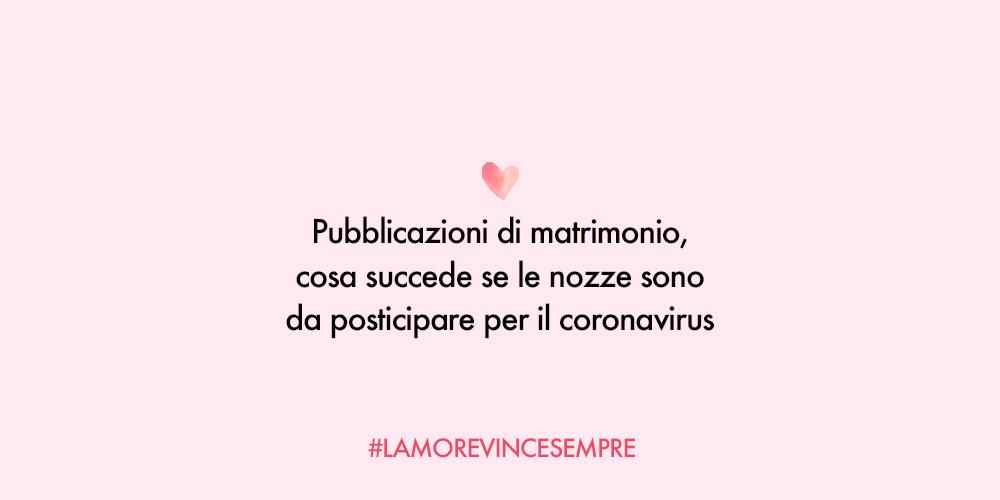 pubblicazioni matrimonio coronavirus