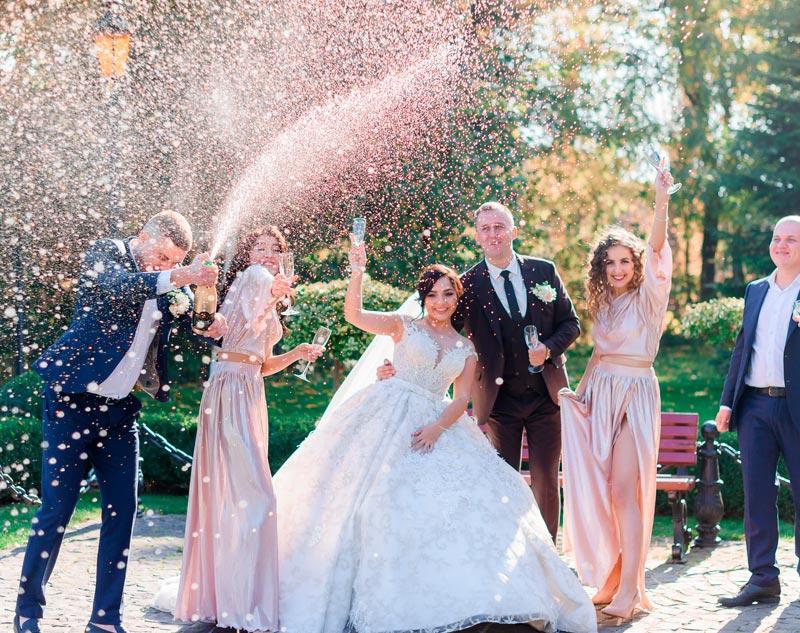 in questa foto due sposi brindano con i loro amici