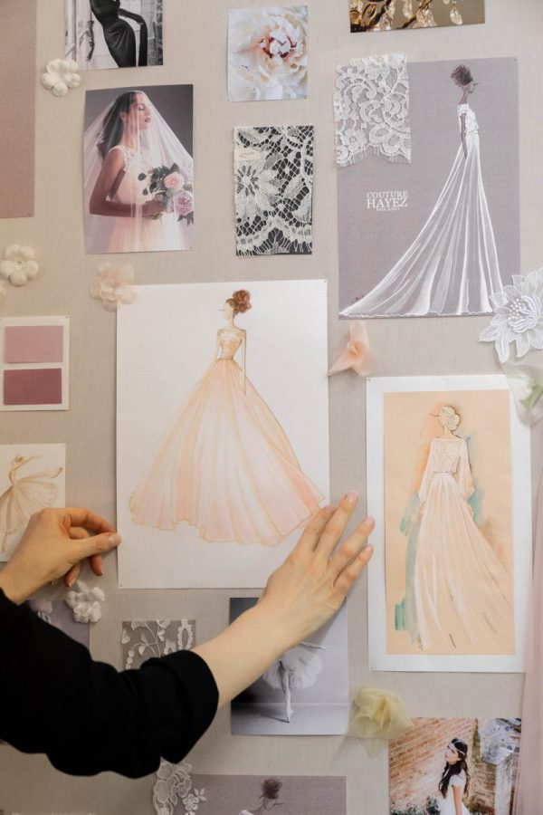 In questa foto il bozzetto dell'abito da sposa Couture Hayez di Martina