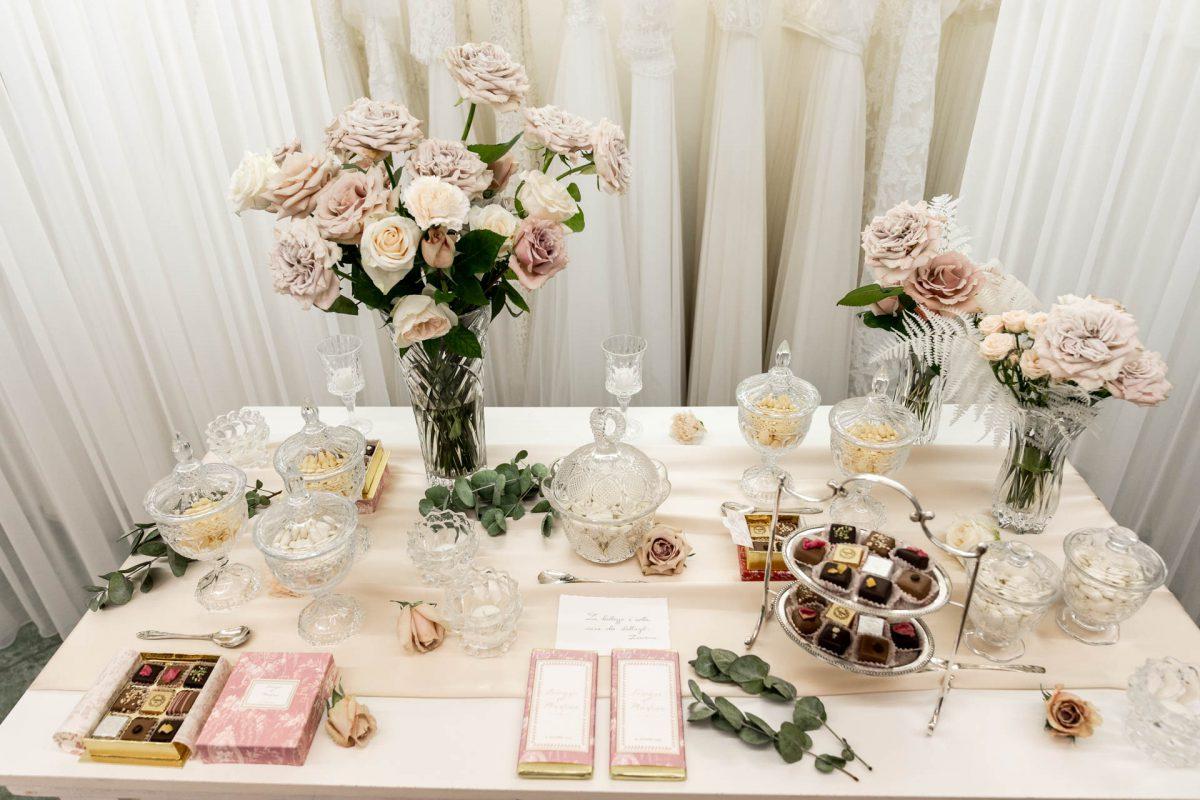 Il buffet di dolci allestito da Couture Hayez per Martina