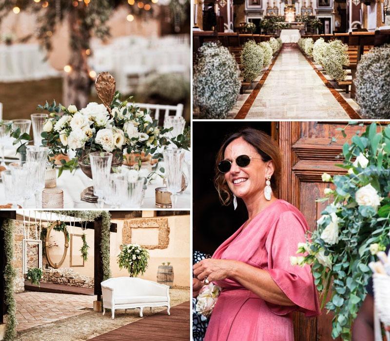 Questa foto è un collage di immagini che ritraggono Antonella Candido Wedding Planner e alcuni dettagli dei suoi allestimenti di matrimonio