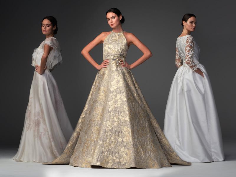 In questa foto tre modelli della collezione di abiti da sposa Chiara Vitale 2021