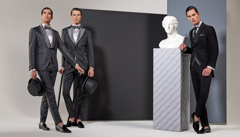 In questa foto un modello della linea Sartorial tight della collezione di abiti da sposo Andrea Versali 2021