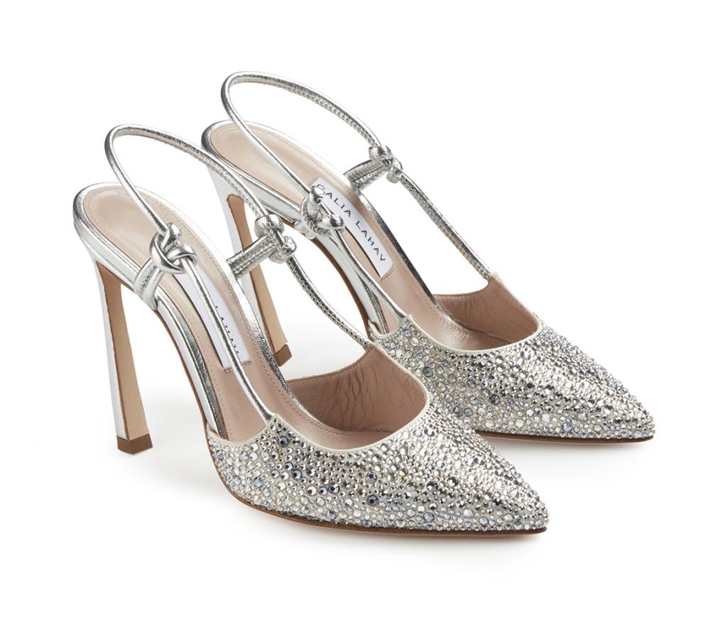 In questa foto scarpe da sposa Gaia Lahav in argento