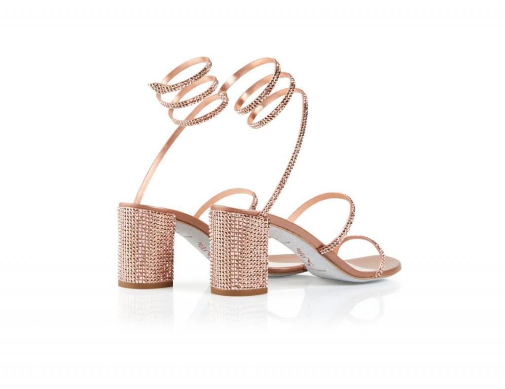 In questa foto scarpe sposa con tacco basso René Caovilla