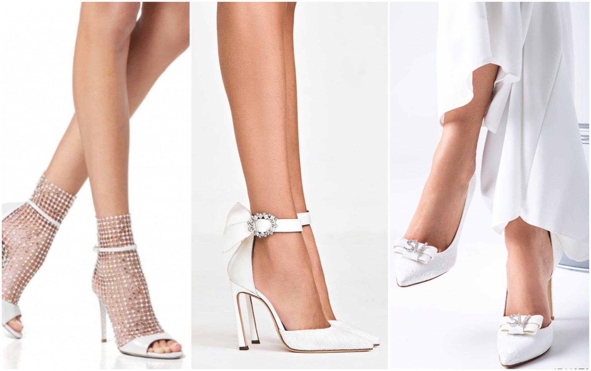 In questa foto tre paia di scarpe in linea con le principali tendenze scarpe sposa 2021