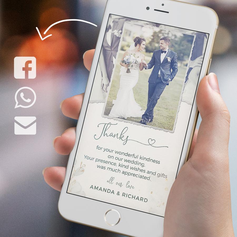 In questa foto uno smartphone con un biglietto di ringraziamento digitale per gli ospiti delle nozze
