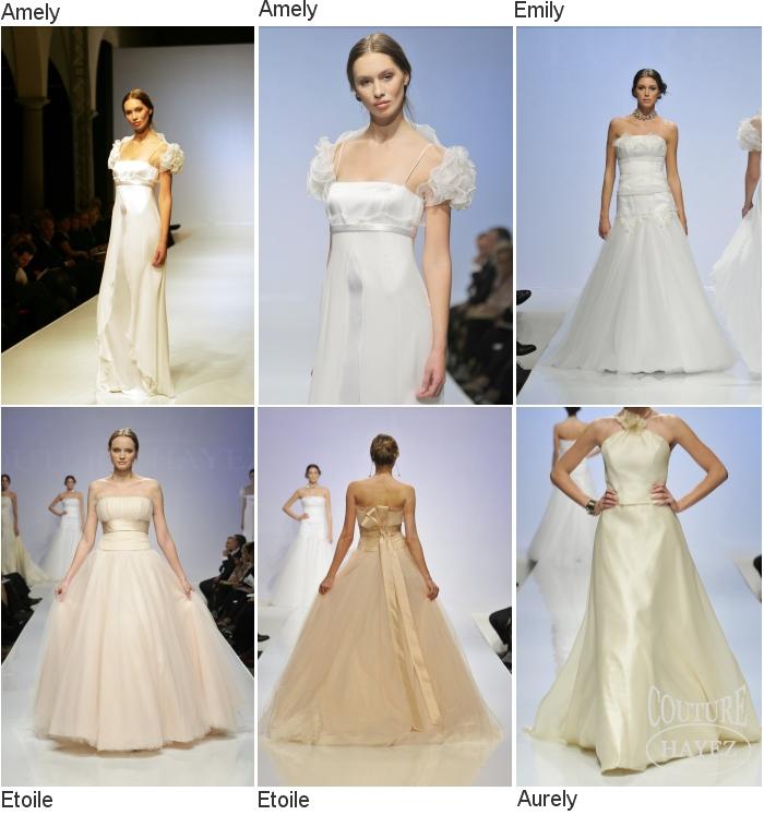 In questa foto sei abiti da sposa indossati da modelle, della prima collezione sposa di atelier Couture Hayez chiamata Étoile