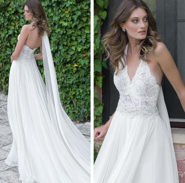 In questa foto una modella indossa un abito da sposa con scollatura all'americana con bretelle di Nadia Orlando