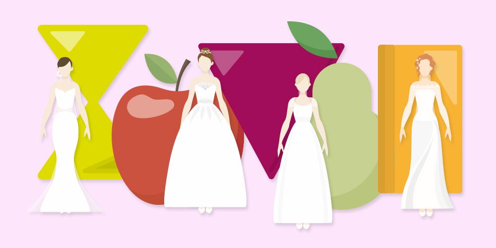 Questo è un disegno delle 5 forme del corpo femminile esistenti: a clessidra, a mela, a triangolo invertito, a pera, a rettangolo