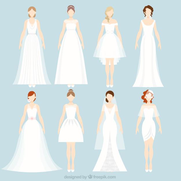 In questa immagine il disegno di 8 tipologie di abito da sposa