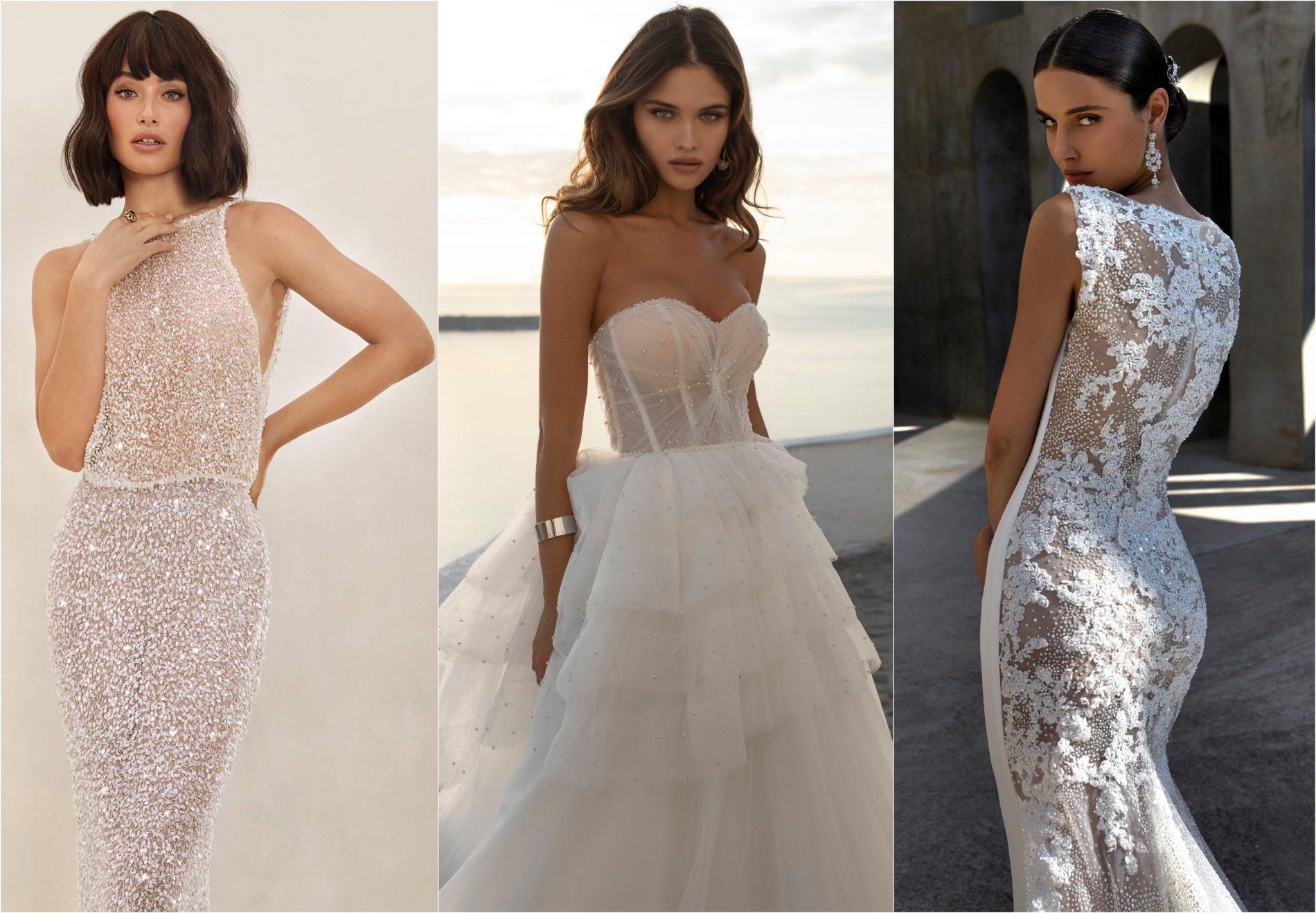 In questa foto un collage con tre modelle che indossano abiti da sposa in linea con le maggiori tendenze sposa 2021