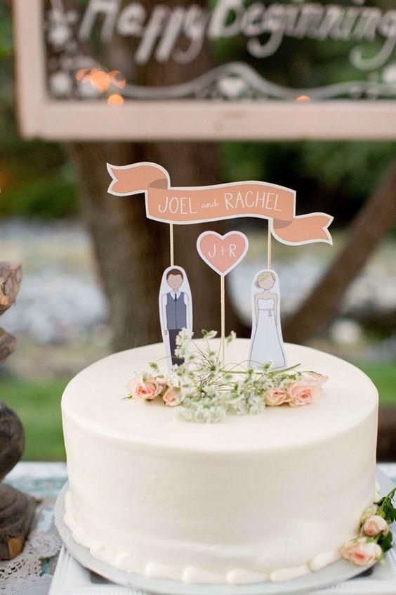 In questa foto un cake topper realizzato con il cartoncino e che riprende le sagome degli sposi con i loro nomi