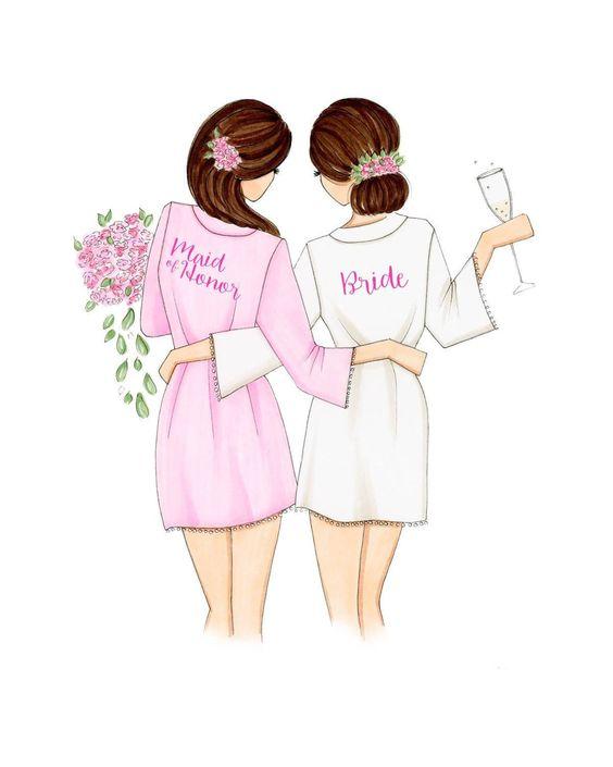 Questa immagine è un disegno di una sposa e la sua damigella d'onore