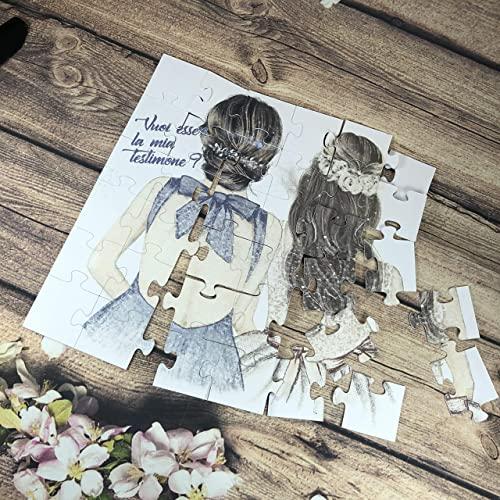 In questa foto un puzzle da comporre con il disegno di due amiche e la domanda Vuoi essere la mia testimone?