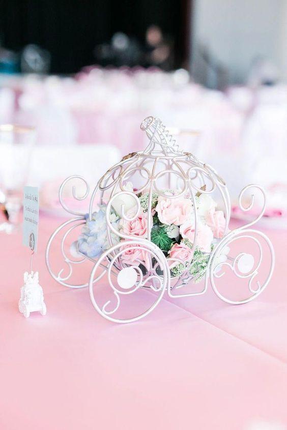 In questa foto una carrozza a forma di zucca usata come segnaposto e centrotavola di un matrimonio a tema Disney