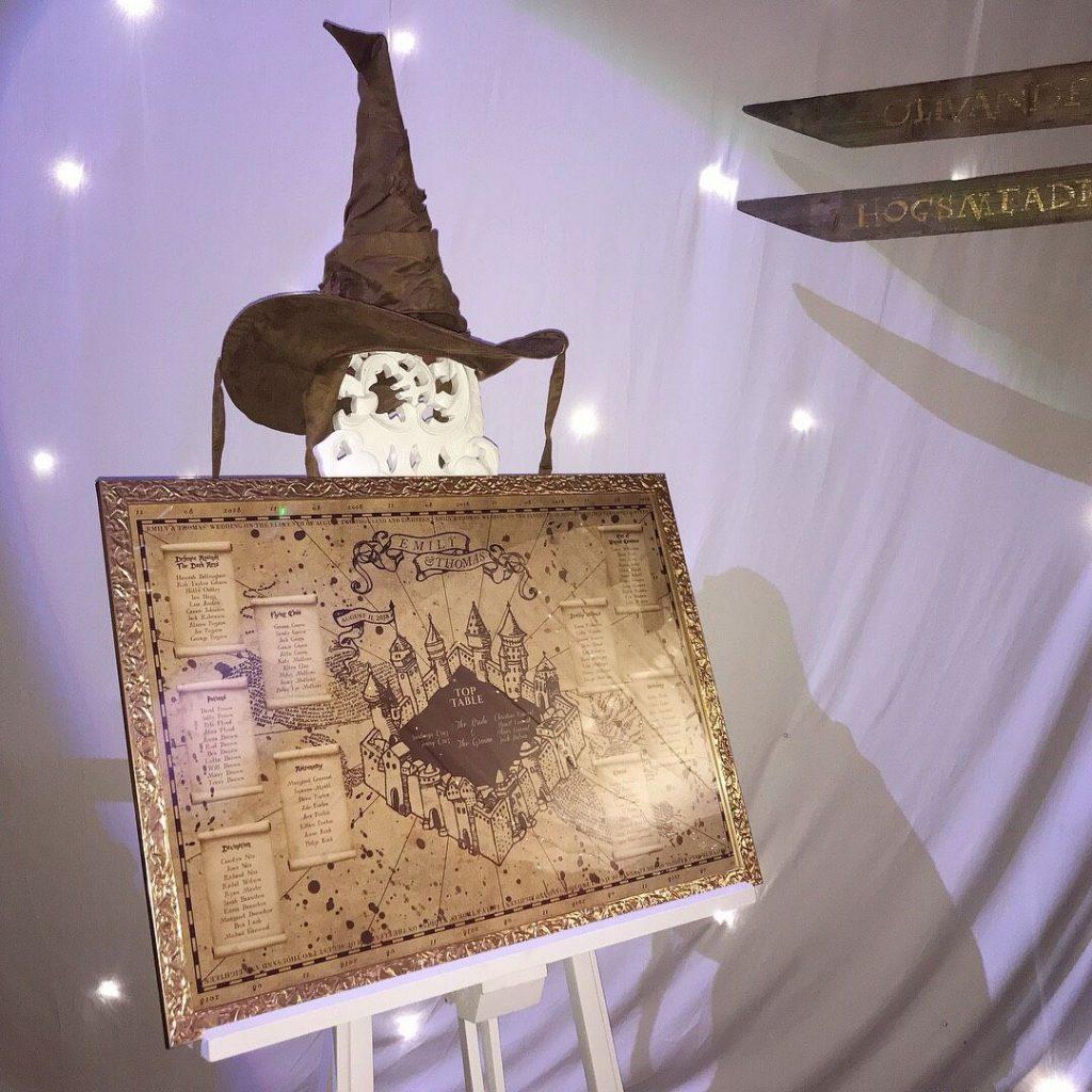 In questa foto un tableau mariage a tema Harry Potter con la Mappa del Malandrino sovrastata dal Cappello Parlante