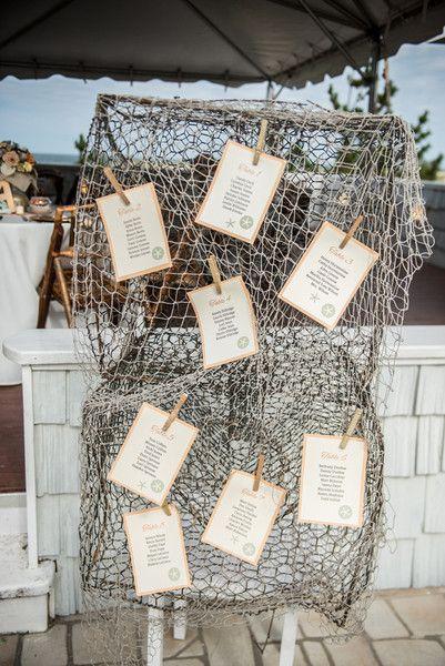 In questa foto un tableau mariage a tema mare realizzato con una rete da pesce su cui sono appese le card con le liste degli ospiti divisi per tavolo