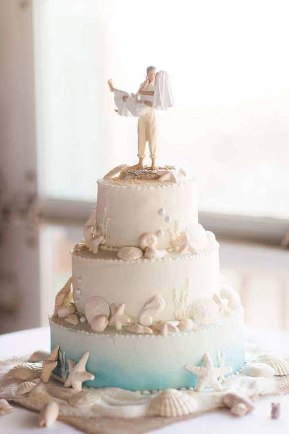 In questa foto una torta di matrimonio a tema marino