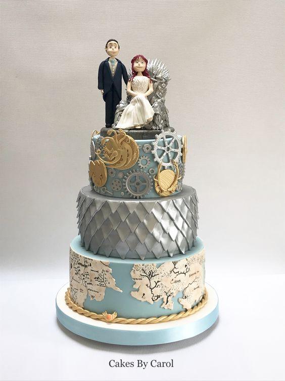 In questa foto una torta di matrimonio ispirata al Trono di Spade