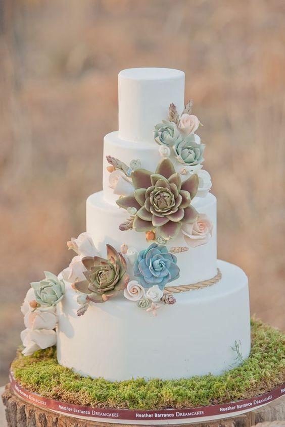 In questa foto una torta di matrimonio decorata con piante grasse, in perfetto stile Greenery