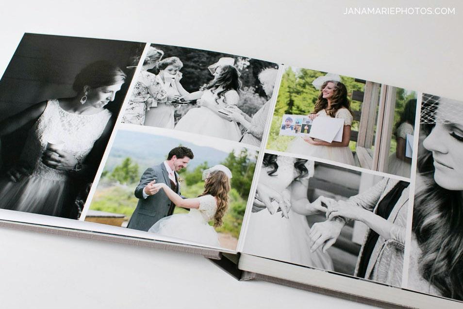 In questa foto un album di nozze fotolibro con diversi scatti un matrimonio