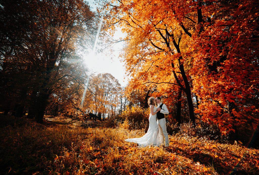 In questa foto due sposi posano abbracciati immersi in un bosco di foglie arancioni su un prato autunnale