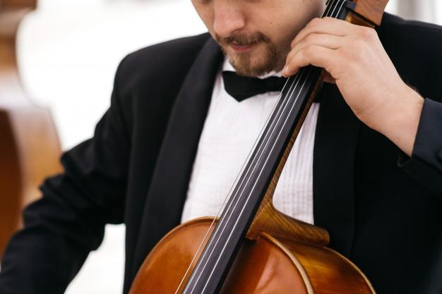 In questa foto un professionista di musica per matrimonio suona il violoncello