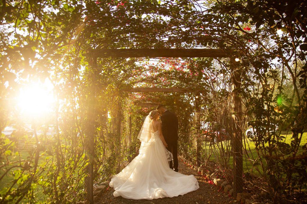 In questa foto di Entire for Wedding la coppia cammina felicemente immersa nel verde