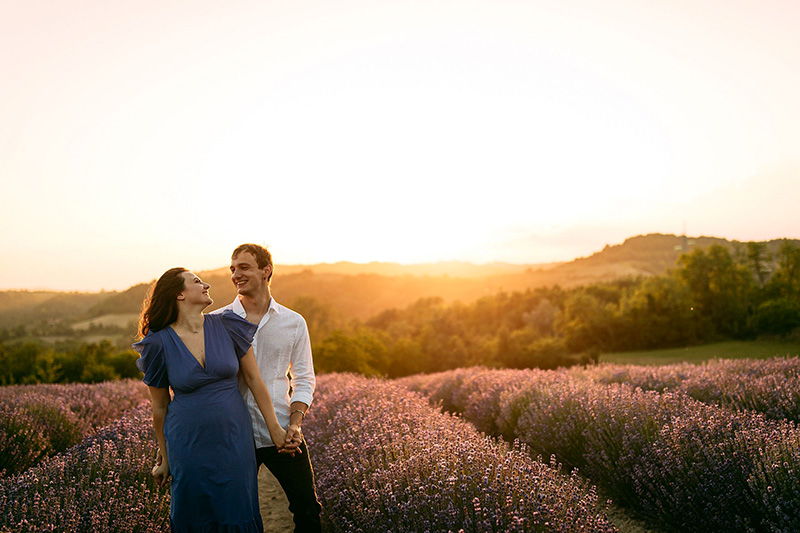 Una foto al tramonto della proposta di matrimonio di Andrea a Giorgia