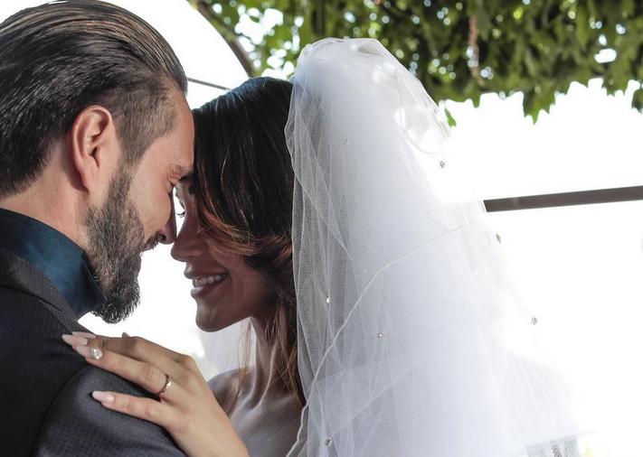 Uno scatto del matrimonio tra Alex Belli e Delia Duran