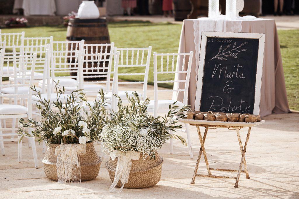 in questa il dettaglio dell'allestimento di un matrimonio con una lavagnetta che riporta i nomi degli sposi, sacchetti di riso e due ceste di paglia con un fiocco di pizzo e rami d'ulivo poggiati a terra