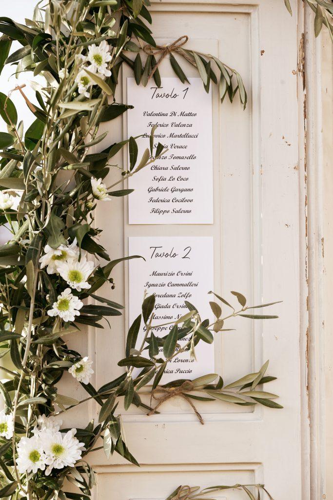 In questa foto il dettaglio di un tableau de mariage realizzato su un'antica porta bianca su cui sono stati attaccate le card dei tavoli ed è decorata con rami d'ulivo e margherite bianche