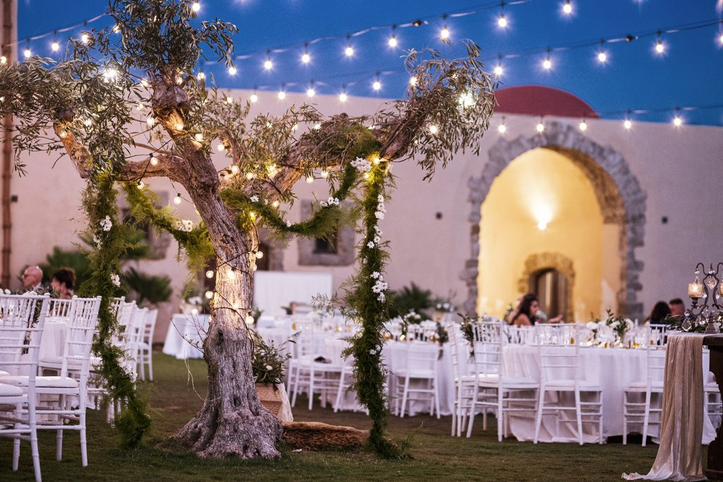 In questa foto l'allestimento di un ricevimento di nozze su un prato con tavoli disposti attorno ad un albero d'ulivo decorato con piccole lampadine accese