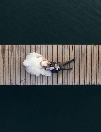 Sposi fotografati dall'alto