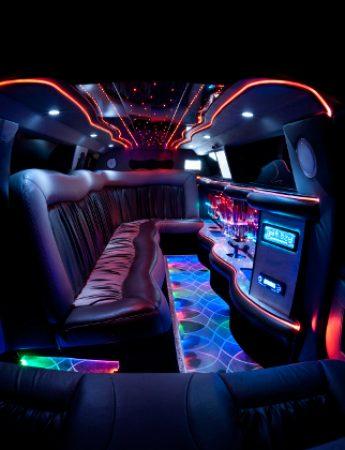 In questo scatto l'interno di una limousine che è possibile noleggiare da Ernesto Cars