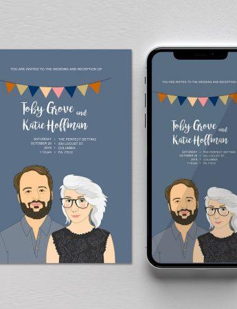 Un invito di nozze versione digitale da inviare via email o whatsapp
