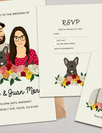 Partecipazione di matrimonio con la caricatura dei futuri sposi e... cane