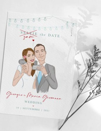 Partecipazione di nozze con la caricatura degli sposi