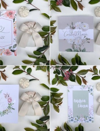 Nella foto, quattro esempio di partecipazioni di matrimonio di Chiara Eventi Wedding Decor
