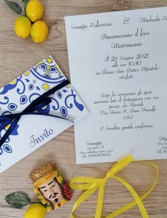 Nella foto, la partecipazione di nozze d'ispirazione siciliana di Fiocchi di gioia