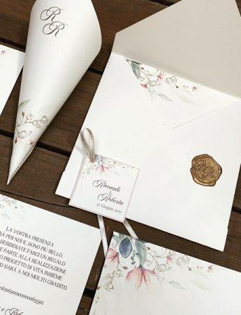 Nella foto, un'altra partecipazione di matrimonio di Inviti di nozze RSPV