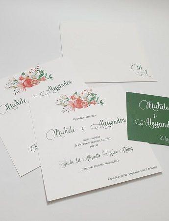Nella foto, le partecipazioni di nozze con melagrana di MG Centro Grafica