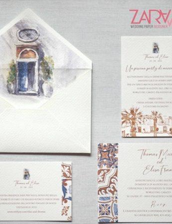Nella foto, la partecipazione di nozze realizzata a mano di Zara Grafica