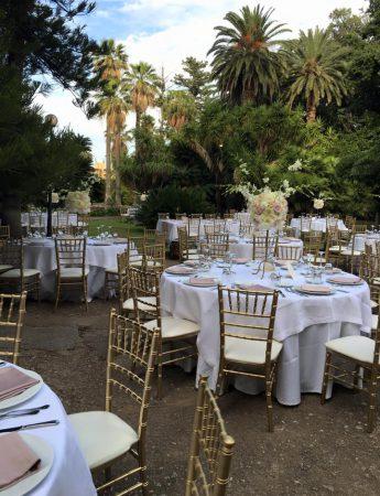 In questa foto l'allestimento di nozze a Villa Tasca a Palermo